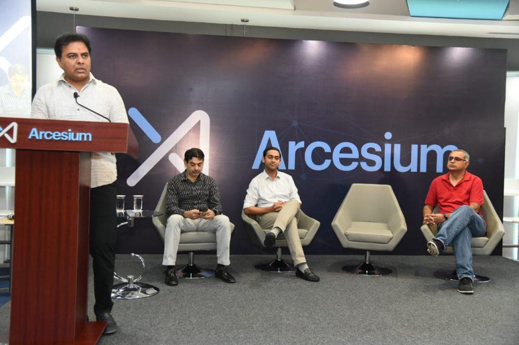 KTR visit Arcesium office Hyderabad
